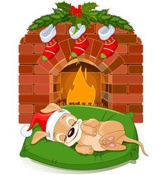 puppy with santas hat vector image