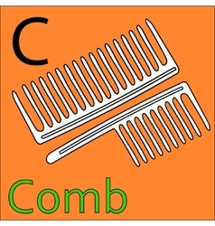 C letter alphabet coloring book comb vector