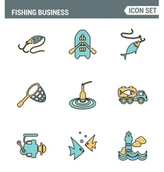 Icons line set premium quality of fishing business vector