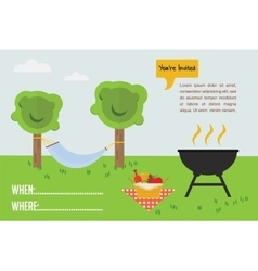 BBQ Party invitation outdoor scene with grill and vector image