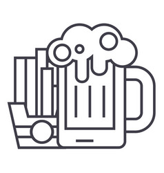 beer and fries line icon sign vector image