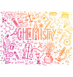 chemistry of icons set chalkboard with elements vector image vector image