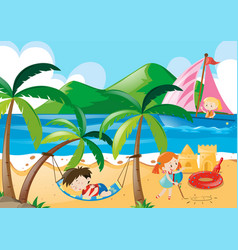 Children napping and playing on the beach vector