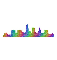 Cleveland skyline silhouette - multicolor line art vector image vector image