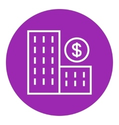 Condominium with dollar symbol line icon vector