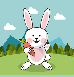 Cute rabbit with carrot adorable landscape natural vector