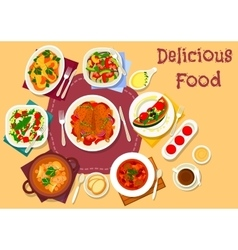 Dinner meal top view icon for food theme design vector