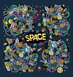 doodles cartoon set of space designs vector image vector image