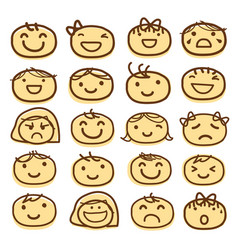 face kids draw emotion feeling icon cute cartoon v vector image vector image