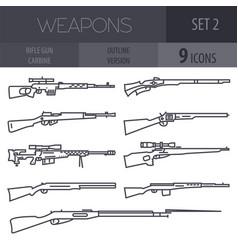 Firearm set gun rifle carbine flat design outline vector