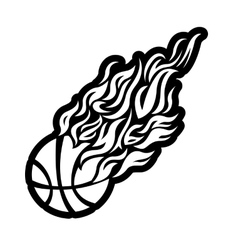 flame fire ball black basketball symbol icon vector image