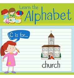 Flashcard letter c is for church vector