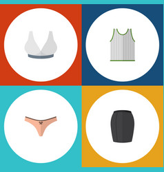 Flat dress set of lingerie stylish apparel vector