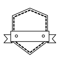 Frame seal with ribbon isolated icon vector