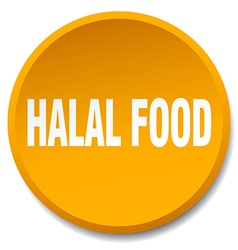 Halal food orange round flat isolated push button vector