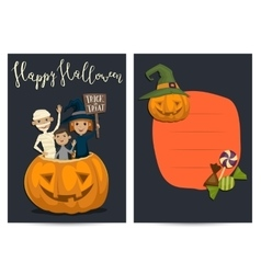 Halloween party invitation design with kids vector