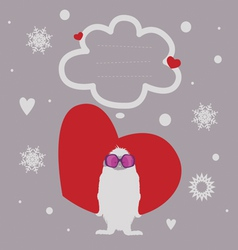 Holiday post card with yeti vector