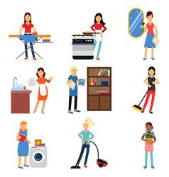housewife in housework activity set homemaker vector image vector image