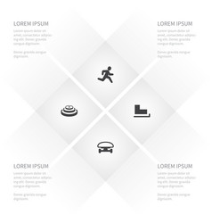 icon activities set of wheel jogging slide and vector image