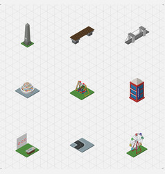 isometric city set of dc memorial bench highway vector image vector image