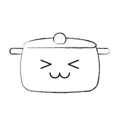 Kitchen pot kawaii character vector