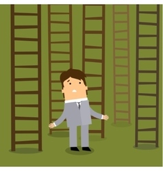 Ladder to success business choices concept vector