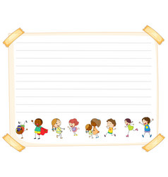 Line paper template with kids vector