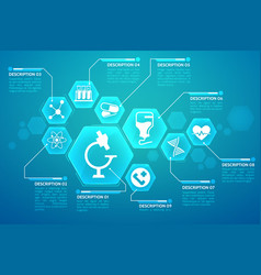 medical blue background poster vector image vector image