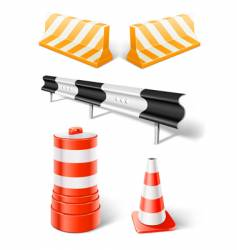 Road repair or construction objects vector
