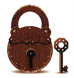 rusty padlock and key vector image vector image