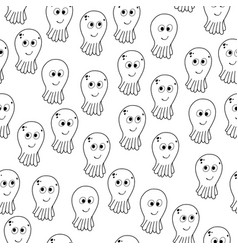 seamless pattern with cartoon octopuses vector image vector image
