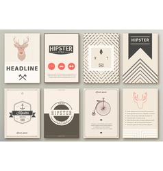 Set of brochures in hipster style vector image