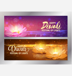 Set of two happy diwali horizontal banners with vector