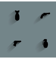 Weapon Silhouette Icons vector image vector image