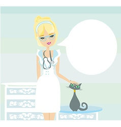woman veterinarian treated the cat vector image