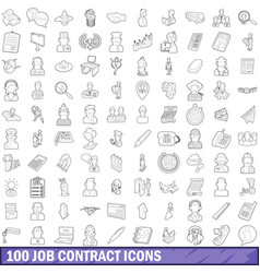 100 job contract icons set outline style vector image vector image