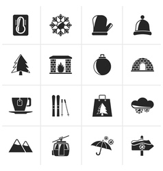 Black winter sport and relax icons vector