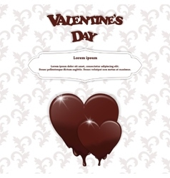 Gift card with chocolate melting hearts valentine vector