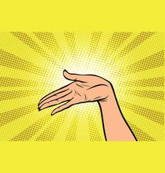 Women open palm hand hold gesture vector