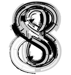 Grunge font number 8 vector image