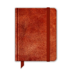 Natural leather notebook copybook with band and vector