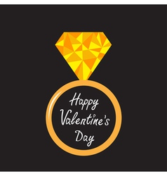 Wedding ring with yellow diamond valentines day vector