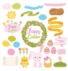 Happy easter set with cartoon cute bunny chicken vector