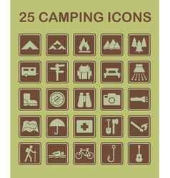 25 camping icons vector image vector image