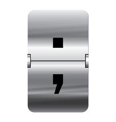 Alphabet silver flipboard letters semicolon vector image