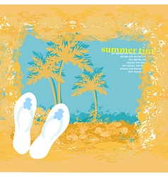 Summer holiday grunge background with slippers vector