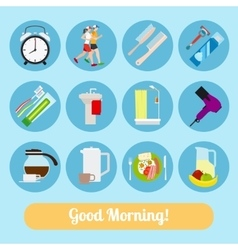 Good morning time icons vector