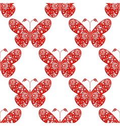 Seamless pattern with red ornamental butterflys vector