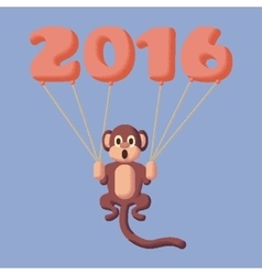 Monkey dotted symbol of 2016 with balloons Rose vector image
