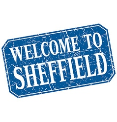 Welcome to sheffield blue square grunge stamp vector